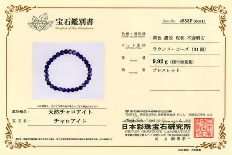 チャロアイトの宝石鑑別書